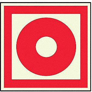 Fire Alarm Sign,8 x 8In,Red/Wht,SYM,SURF