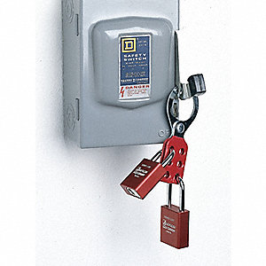 "4"" Steel Standard Lockout Hasp, Red&#x3b; Includes (2) Interlocking Tabs"