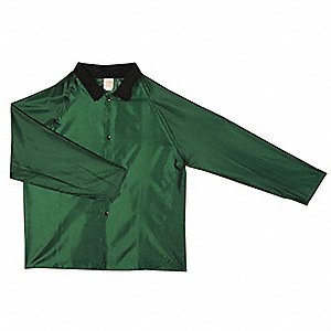 Men's Green Polyurethane Rain Jacket, Size 3XL, Fits Chest Size 54 to 56""