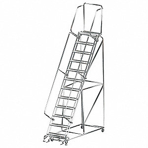 "12-Step Rolling Ladder, Perforated Step Tread, 153"" Overall Height, 450 lb. Load Capacity"