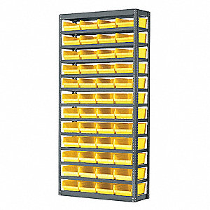 Bin Shelving,Solid,36X18,60 Bins,Yellow