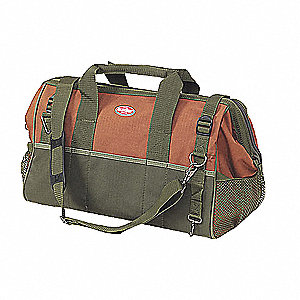 Canvas Tool Bag, General Purpose, Number of Pockets: 23, Brown/Green