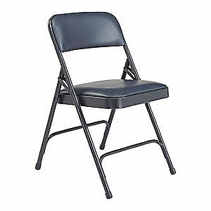 Char-Blue Steel Folding Chair with Blue Seat Color, 4PK