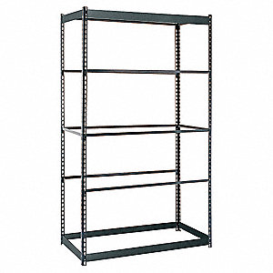 "Freestanding Boltless Shelving with None Decking, 5 Shelves, 48""W x 12""D x 84""H"