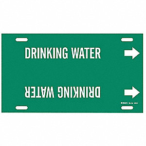 Pipe Marker, Drinking Water, Gn, 10 to15 In