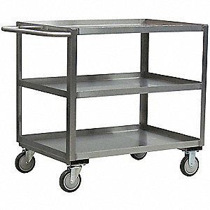 Stainless Steel Raised Handle Utility Cart, 1200 lb. Load Capacity, Number of Shelves: 2