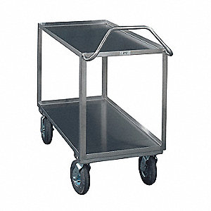 Stainless Steel Flat Handle Deep Shelf Utility Cart, 1200 lb. Load Capacity, Number of Shelves: 2