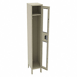 "Sand Wardrobe Locker, (1) Wide, (1) Tier Openings: 1, 12"" W X 15"" D X 78"" H"