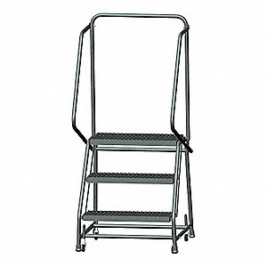 "3-Step Rolling Ladder, Serrated Step Tread, 58-1/2"" Overall Height, 450 lb. Load Capacity"