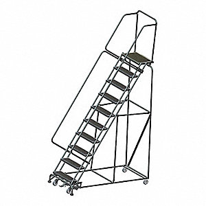 "10-Step Rolling Ladder, Abrasive Mat Step Tread, 133"" Overall Height, 450 lb. Load Capacity"