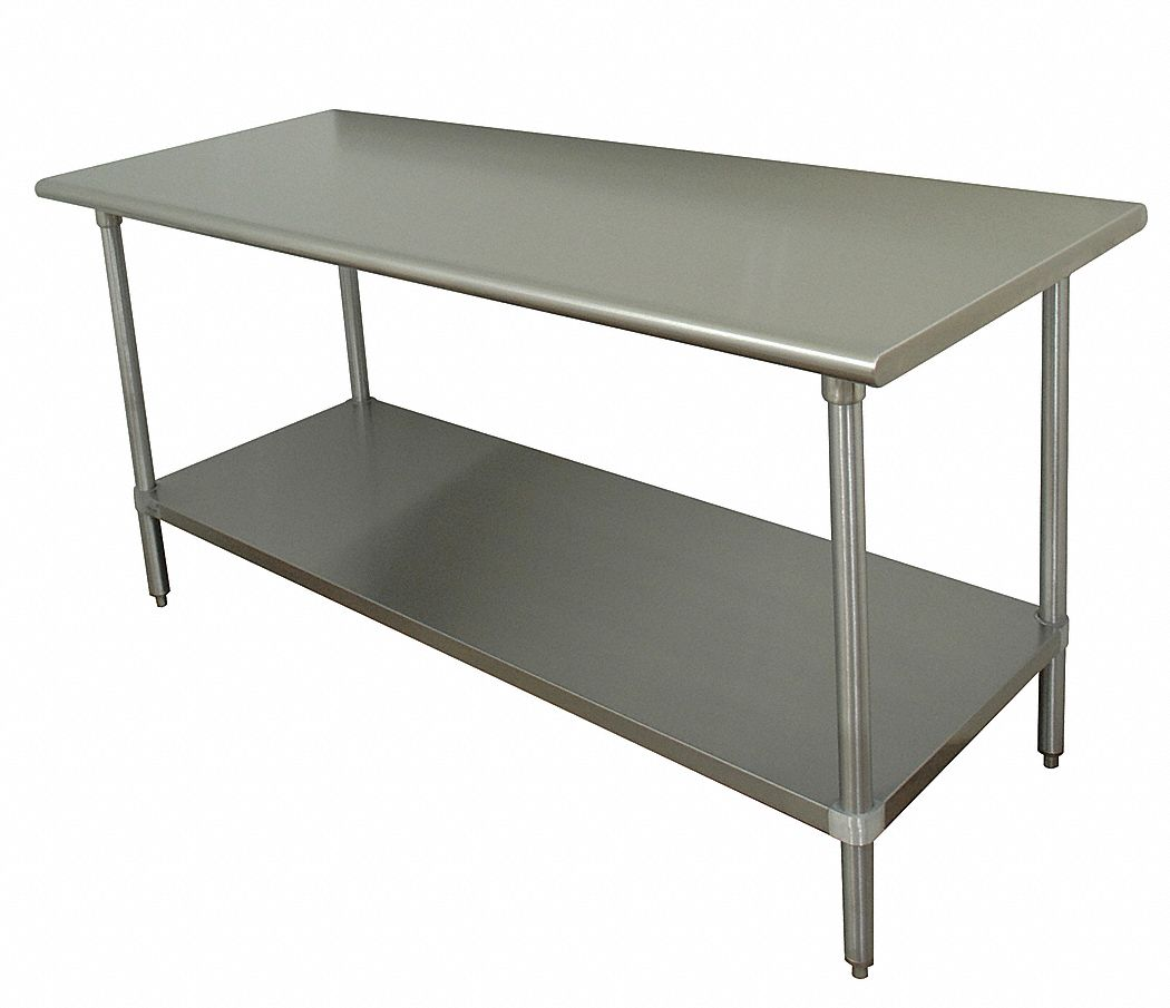 Fixed Height Work Table, Stainless Steel, 36 in Depth, 35 1/2 in Height, 60 in Width,675 lb Load Cap