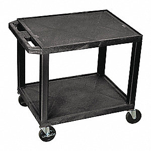 Utility Cart,300 lb. Cap.,Resin,2 Shlvs