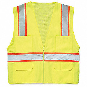 Yellow/Green with None, ANSI 2, Zipper Closure, M