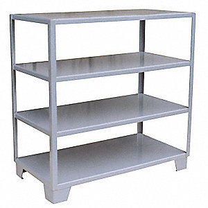 "60""W x 24""D x 57""H Steel Bulk Storage Rack, Gray&#x3b; Number of Shelves: 4"