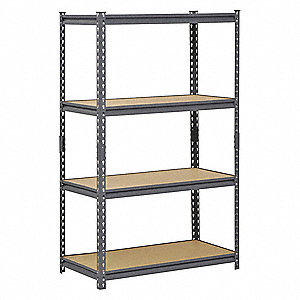 "Freestanding Boltless Shelving with Particle Board Decking, 4 Shelves, 36""W x 18""D x 60""H"