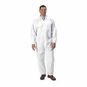 Collared Disposable Coveralls with Elastic Cuff, White, XL, SMS
