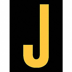 "Reflective Letter Label, J, Reflective Yellow on Black, 2-1/2"" Character Height, 25 PK"