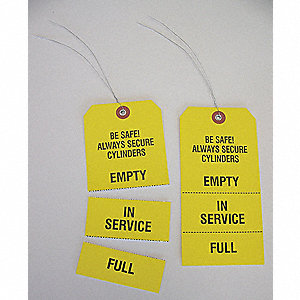 "Yellow Paper Tag, Cylinders, Paper, 6-1/4"" x 3-1/8"""
