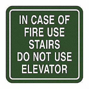Fire Stairways Sign,5-1/2 x 5-1/2In,ENG