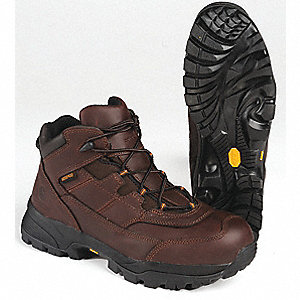 "6""H Men's Hiking Boots, Plain Toe Type, Leather Upper Material, Brown, Size 12"