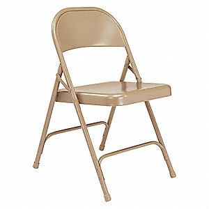 Beige Steel Folding Chair with Beige Seat Color, 4PK