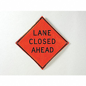 Road Sign,Lane Closed Ahead,36 x 36In