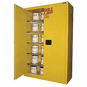 "43"" x 18"" x 67"" Galvanized Steel Paint and Ink Safety Cabinet with Self-Closing Doors, White"