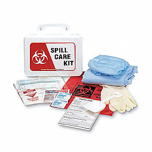 Biohazard Spill Kit Refill in Carrying Case, Red