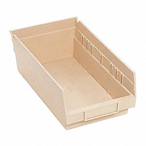 "Shelf Bin, Ivory, 11-5/8"" Outside Length, 6-5/8"" Outside Width, 4"" Outside Height"