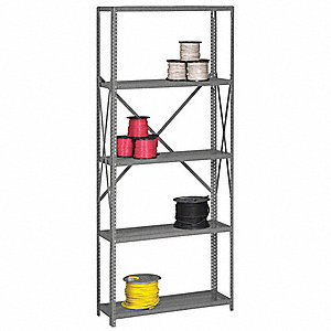 "Starter Open Metal Shelving, 36""W x 12""D x 87"" Load Cap., 5 Shelves, Gray"