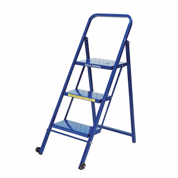 Ballymore 3 Step Folding Rolling Ladder Perforated Step