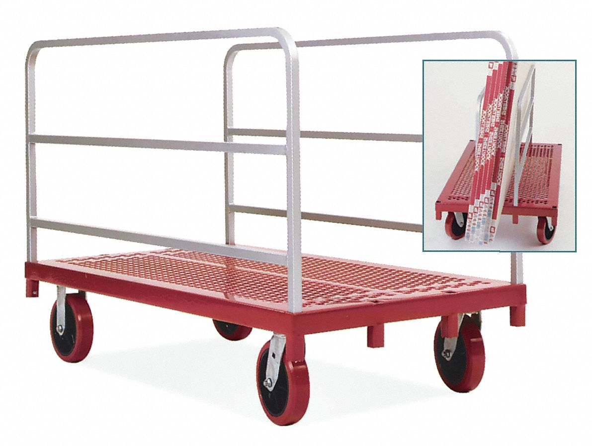 Single-Height Vertical Panel Truck with Adjustable Rails,  3,200 lb Load Capacity,  54 in,  30 in