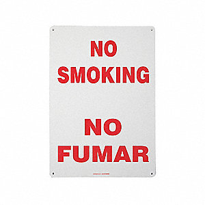 "No Smoking, No Header, Fiberglass, 20"" x 14"", With Mounting Holes, Not Retroreflective"