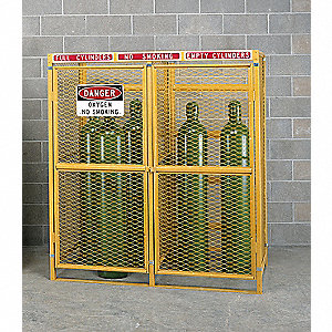 "Yellow Gas Cylinder Cabinet, 30"" Overall Width, 38"" Overall Depth, 72"" Overall Height, Variable Cyli"