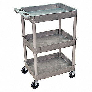 Thermoplastic Resin Flat Handle Utility Cart, 300 lb. Load Capacity, Number of Shelves: 3