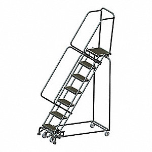 "7-Step Slope Lockstep Rolling Ladder, Rubber Mat Step Tread, 103"" Overall Height, 450 lb. Load Capac"
