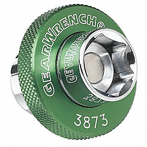 "14mm Anodized Aluminum Oil Drain Plug Socket with 3/8"" Drive Size and Green Paint Finish"