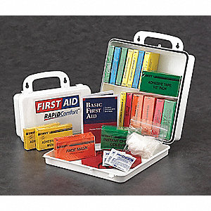 First Aid Kit,Unitized,White,62Pcs,3 Ppl