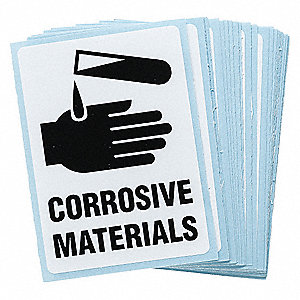 "Chemical, Gas or Hazardous Materials, No Header, Vinyl, 4"" x 2"", Adhesive Surface"