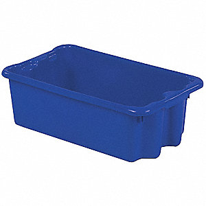 "Stack and Nest Container, High Density Polyethylene, 24"" Outside Length, 14-1/8"" Outside Width"