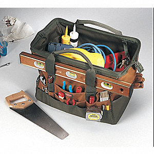 "Polyester Tool Bag, 19"" Width, Number of Pockets: 49, Brown/Green"