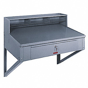 Wall Mounted Shop Desk,36x25 In.,Gray