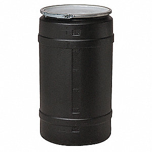 55 gal. Black Polyethylene Open Head Transport Drum