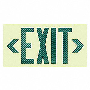 Exit Sign,7-1/2 x 13In,BK/GRN,Exit,ENG