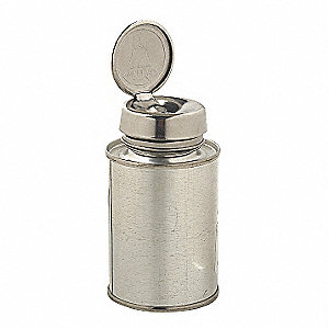 Narrow Mouth Round Dispensing ESD Bottle, Dispensing, Metal, 118.3mL, Silver, 1 EA