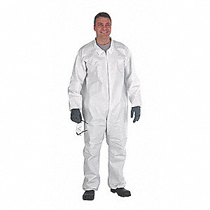 Hooded Disposable Coveralls with Elastic Cuff, White, L, MicroMax® NS