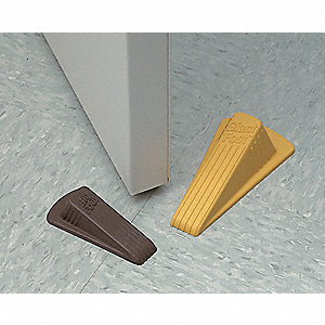 "Door Wedge, Vulcanized Rubber, Yellow, 4-3/4"" Length, 1-1/4"" Height, 2"" Width"