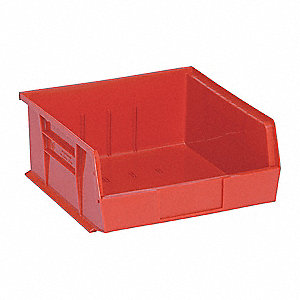 "Hang and Stack Bin, Red, 10-7/8"" Outside Length, 11"" Outside Width, 5"" Outside Height"