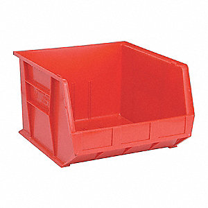 "Hang and Stack Bin, Red, 18"" Outside Length, 16-1/2"" Outside Width, 11"" Outside Height"
