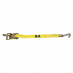 "Tie Down Strap, 6 ft.L x 2""W, 3300 lb. Load Limit, Adjustment: Ratchet"